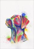 Hundeportrait mit Aquarell
